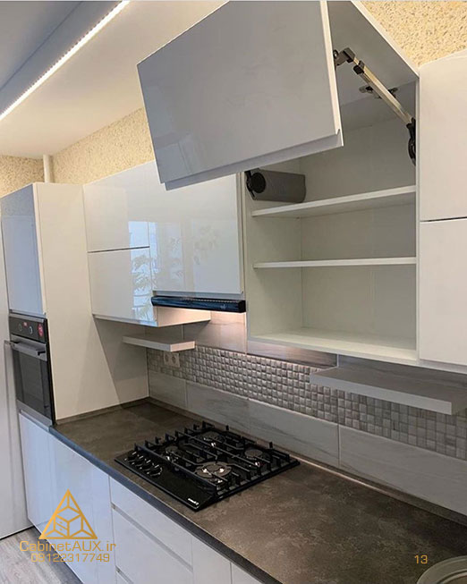 کابینت آشپزخانه رنگ سفید براق